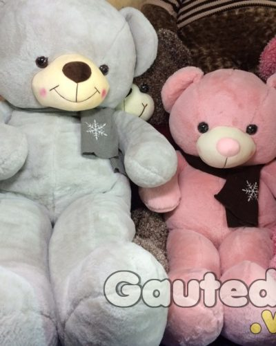 Gấu Teddy Pink Choàng Khăn Hoa Tuyết – gauteddy.vn