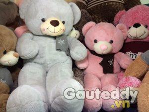 Gấu Teddy Choàng Khăn Hoa Tuyết ( xám xanh ) - gauteddy.vn