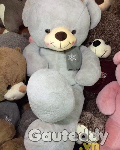 Gấu Teddy Choàng Khăn Hoa Tuyết ( xám xanh ) – gauteddy.vn