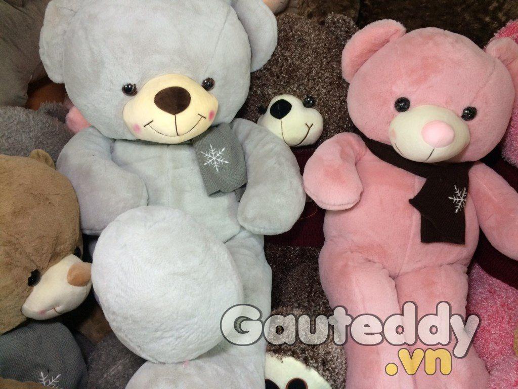 Gấu Teddy Pink Choàng Khăn Hoa Tuyết - gauteddy.vn