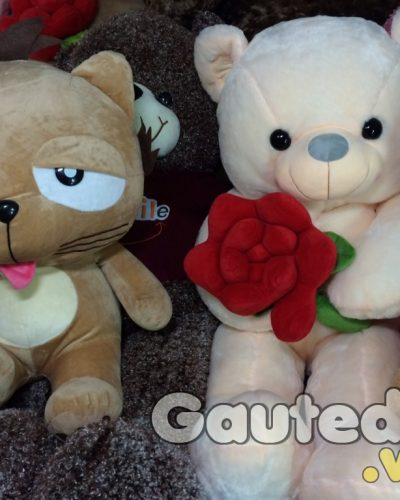 Gấu Teddy Ôm Hoa ( xám trắng) – gauteddy.vn