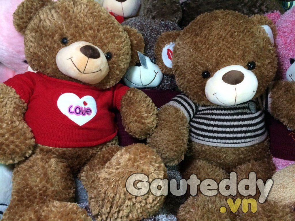 Gấu Teddy Kiss Áo Sọc - gauteddy.vn