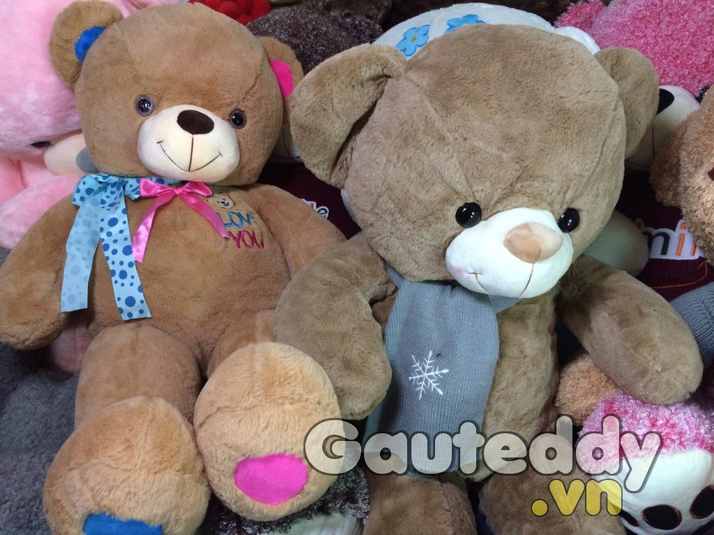 Gấu Teddy Khăn Hoa Tuyết ( Nâu đậm ) - gauteddy.vn