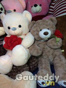 Gấu Teddy Ôm Hoa ( xám trắng) - gauteddy.vn
