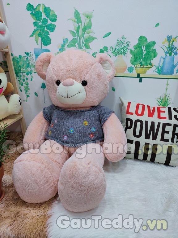 Gấu Teddy Áo Hoa Xám