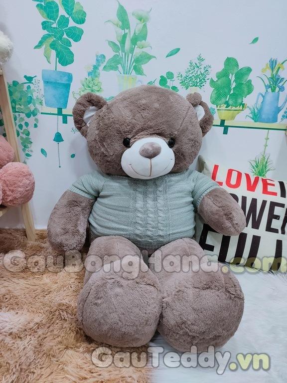 Gấu Bông Nâu Áo Xám