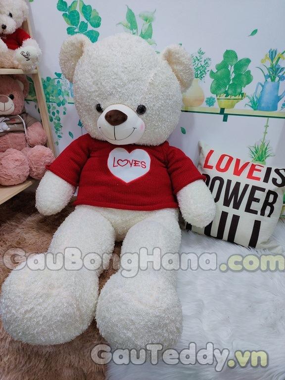 Gấu Bông Trắng Áo Đỏ Tim