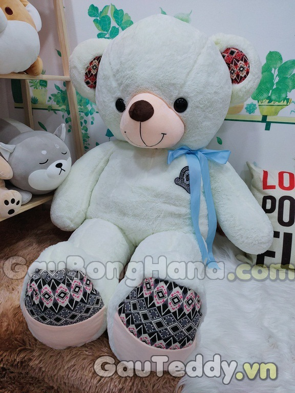 Gấu Bông Trắng Nơ Xanh