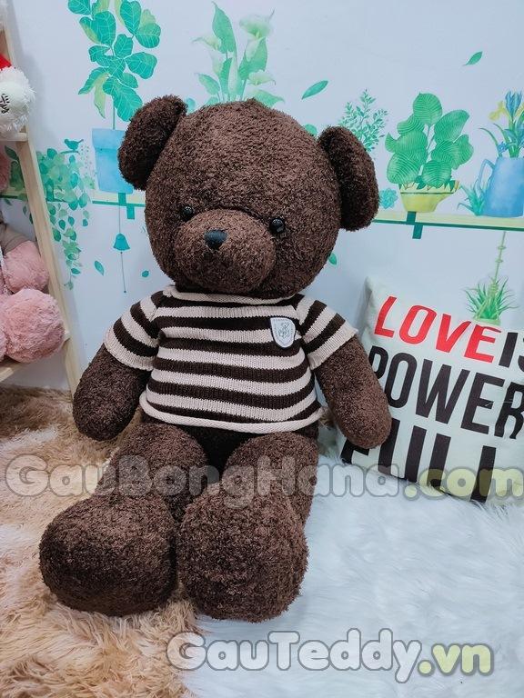 Gấu Bông Nâu Áo Sọc