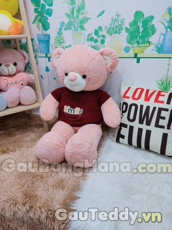 Gấu Bông Hồng Áo Smile Đỏ