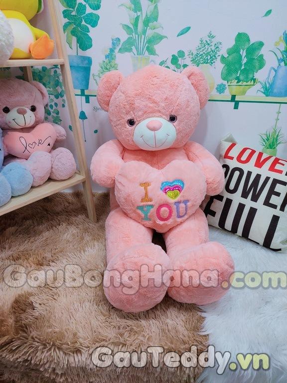Gấu Bông Hồng Ôm Tim I Love U