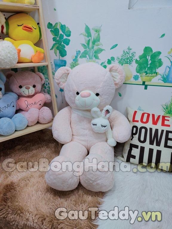 Gấu Bông Trắng Hồng Khăn Choàng Thỏ