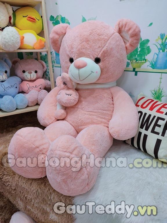 Gấu Bông Hồng Khăn Choàng Thỏ