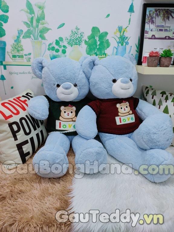 Gấu Bông Xanh Dương Áo Love