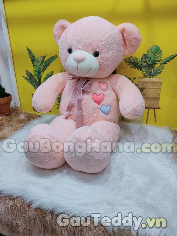 Gấu Bông Nơ Tim Hồng Phấn