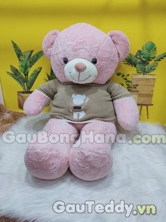 Gấu Bông Hồng Aó Gấu Nâu