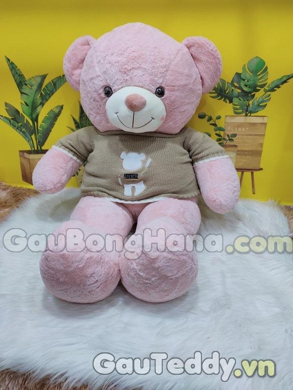 Gấu Bông Hồng Aó Nâu