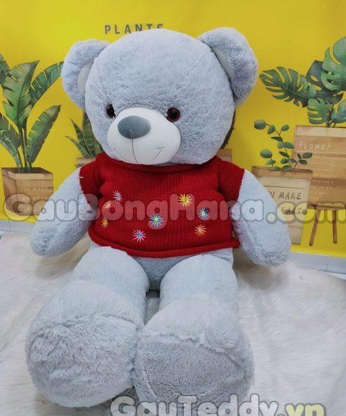 Gấu Bông Xám Áo Hoa