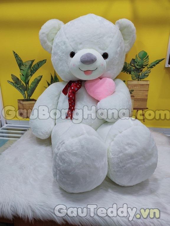 Gấu Bông Smile Ôm Tim Hồng