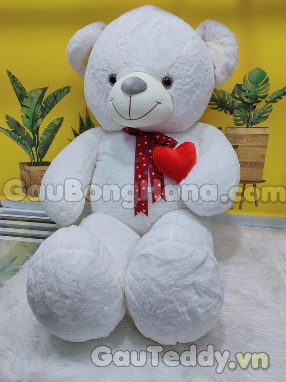 Gấu Bông Trắng Ôm Tim Đỏ