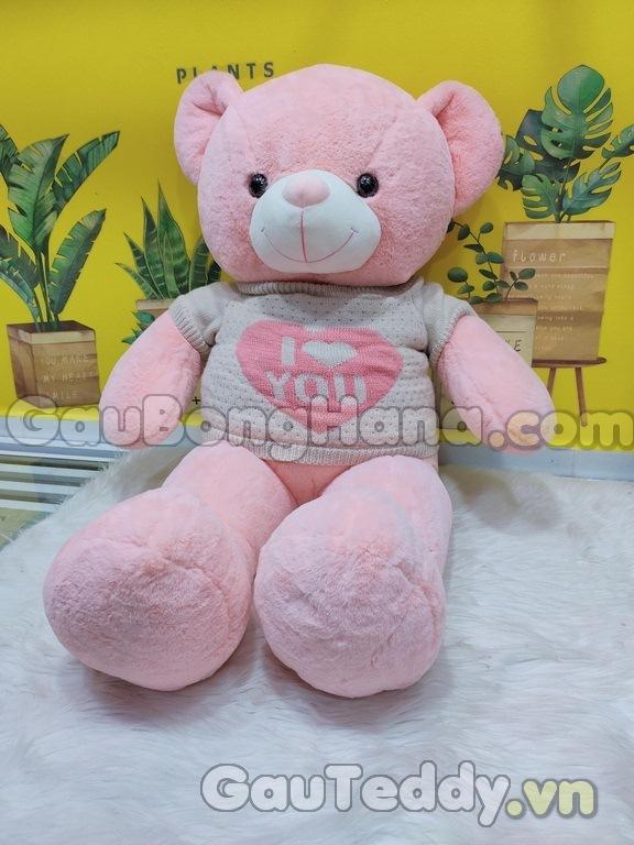 Gấu Bông Hồng I Love U