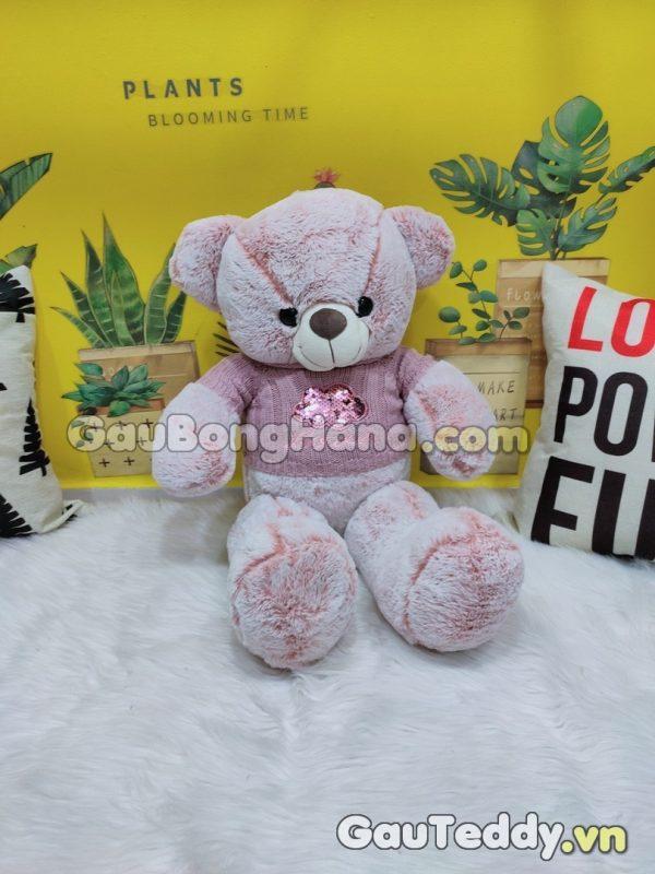 Gấu Bông Tím Áo Len Kim Sa