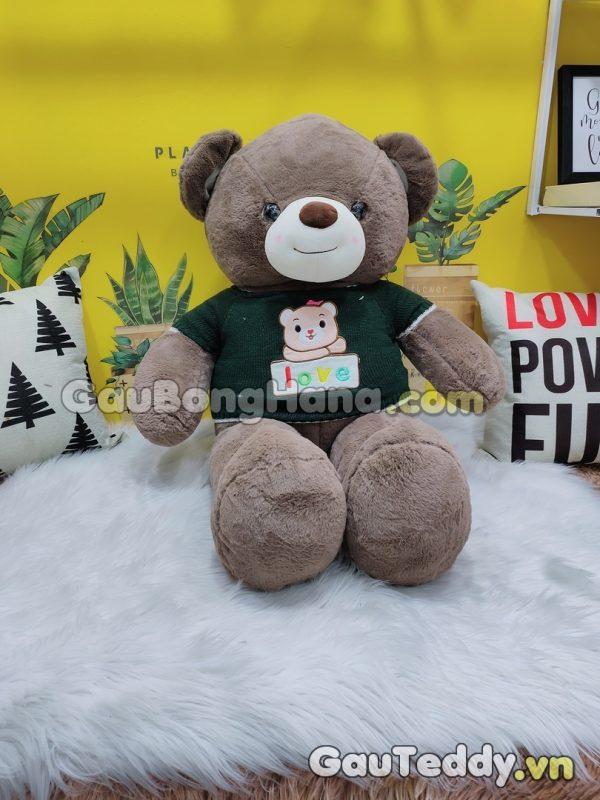 Gấu Bông Nâu LOVE Áo Xanh