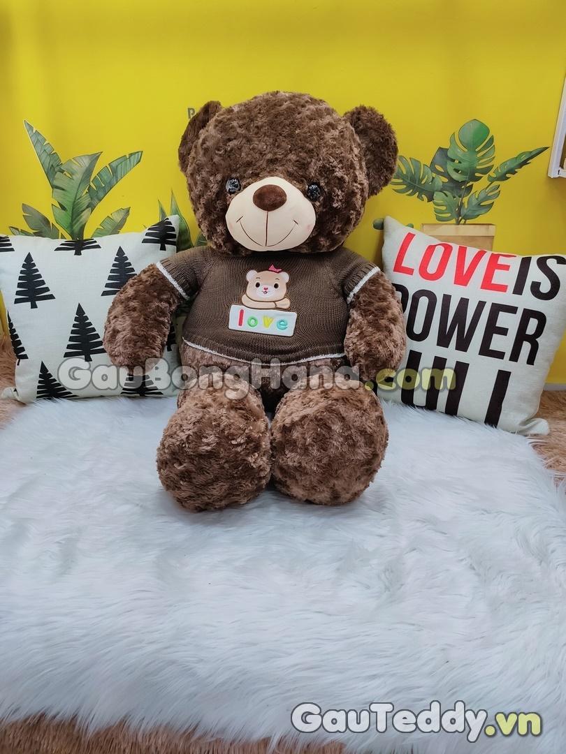 Gấu Bông Lông Xoắn Áo Nâu